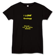 This women's satirical geology t-shirt says: I LOVE Geology. (Except ... For All Those ROCKS). Any geology student will dig it.