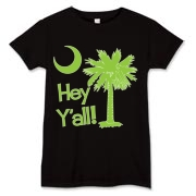Say hello with the Lime Green Hey Y'all Palmetto Moon Women's T-Shirt. It features the South Carolina palmetto moon.