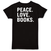 White Logo/Peace Love Books T-Shirt