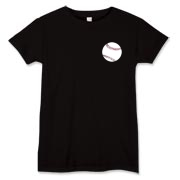 This Women's T-shirt is available in many colors and features a baseball at the pocket area of the shirt.