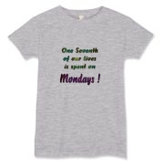 One seventh of our lives is spent on Mondays ! What a disturbing thought ! Colorful text-only design with a gloomy message for those that live for the week-ends !
