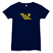 This is the blue t-shirt of the RUN, PASS, SCORE, REPEAT offense.