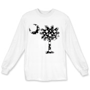 Black Polka Dot Palmetto Moon Long Sleeve T-Shirt features a black palmetto moon with white polka dots. Buy this fun variation on the South Carolina palmetto moon flag today!