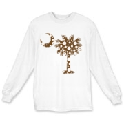 Chocolate Brown Polka Dot Palmetto Moon Long Sleeve T-Shirt features a chocolate brown palmetto moon with white polka dots. Buy this fun variation on the South Carolina palmetto moon flag today!