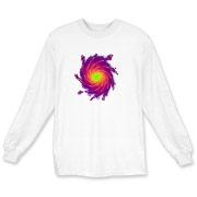 This intense art long sleeve t-shirt shows colorful spiral arms with shooting sparks, spreading out from a bright central core.