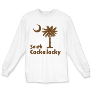 Brown South Cackalacky Palmetto Moon Long Sleeve T-Shirt features the South Carolina palmetto moon logo in brown.