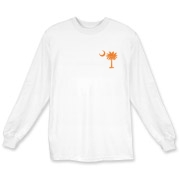 Orange and Purple South Cackalacky Palmetto Moon Long Sleeve T-Shirt features the South Carolina palmetto moon logo in orange and purple on the back and a smaller, matching palmetto moon on the front.