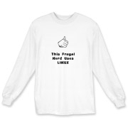 This witty computer long sleeve t-shirt says: This Frugal Nerd Uses Linux. A hand with extended thumb points to the wearer. If you're smart enough to use Linux, you're smart enough to wear this design.