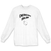 Proudly show off your college major with this humorous college long sleeve t-shirt, which uses a thumb's up gesture and a big label that says: Chemistry Major.