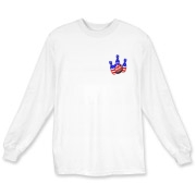 This bowling long sleeve shirt with stars and stripes pocket emblem design shows bright colored bowling pins and a colorful bowling ball, all wrapped in stars and stripes.
