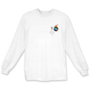 This humorous extreme bowler long sleeve t-shirt has a pocket-sized emblem that shows a bowling pin in total terror as a flaming bowling ball chases it down.
