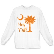 Say hello with the Orange Hey Y'all Palmetto Moon Long Sleeve T-Shirt. It features the South Carolina palmetto moon.