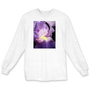 The inner fire of this purple iris glows from within the flower. The gardener will love this shirt!