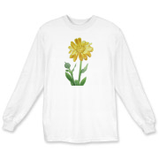 A golden calendula with bud and leaves graces the front of this t-shirt. Wear a feminie shirt today!