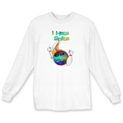 This funny face bowling ball long sleeve t-shirt has a flaming bowling ball smashing through bowling pins. The bowling ball has an angry grimace and bowling pins for eye pupils.