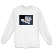 An asymmetrical cosmos flower dances in the light, making a sparlkling image on this shirt. Add a crisp and beautiful accent to your wardrobe with this one!