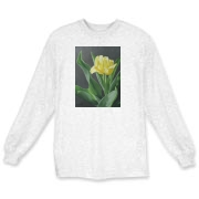 This spring tulip has rolled leaves catching the light, a pretty t-shirt to brighten your day!