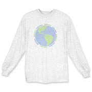 Long sleeve t-shirts are a great alternative to a sweatshirt. Globe made entirely out of tiny peace signs, on t-shirts and more for men, women and children.  Bulk discounting available, see our pricing charts.