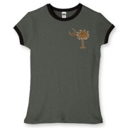 Buy a Chocolate Brown Palmetto Moon Women's Fitted Ringer Tee featuring a smaller palmetto printed on the left chest area. The palmetto moon is a symbol of South Carolina pride.