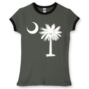 Buy a White Palmetto Moon Women's Fitted Ringer Tee. The palmetto moon is a symbol of South Carolina pride.