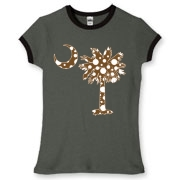 Buy a Chocolate Brown Polka Dot Palmetto Moon Women's Fitted Ringer Tee that features a brown palmetto moon with white polka dots.