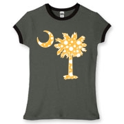 Buy a Yellow Polka Dot Palmetto Moon Women's Fitted Ringer Tee that features a yellow palmetto moon with white polka dots.