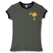 Buy a Yellow Smiley Palmetto Moon Women's Fitted Ringer Tee featuring a smaller palmetto printed on the left chest area. The palmetto moon is a symbol of South Carolina pride.