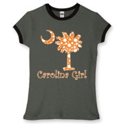 Buy an Orange Polka Dots Carolina Girl Women's Fitted Ringer Tee featuring the South Carolina palmetto moon logo.