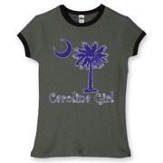 Buy a Purple Carolina Girl Women's Fitted Ringer Tee featuring the South Carolina palmetto moon logo.