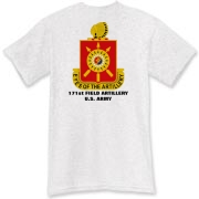 171st Field Artillery - Light Color T-Shirts. Front & Back Insignia. Available in 12 Light Colors.