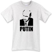 This Vladimir Putin t-shirt shows the tough Russian leading staring another opponent down.  If all the world leaders had as much experience with kicking-ass as Putin, the world would be a safer place.  Murchada Outfitters needs a drink of vodka!