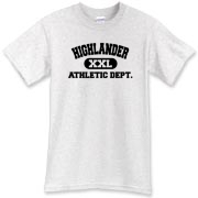 This Highlander Athletic Dept t-shirt is great for tending your sheep or fighting hordes of tyrannical invaders.  It'd be the perfect Scottish tee shirt if it was made of wool!
