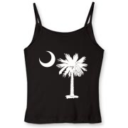 Buy a White Palmetto Moon Women's Fitted Spaghetti Strap Tank. The palmetto moon is a symbol of South Carolina pride.
