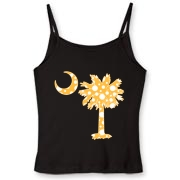 Buy a Yellow Polka Dot Palmetto Moon Women's Fitted Spaghetti Strap Tank that features a yellow palmetto moon with white polka dots.