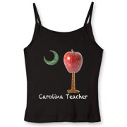 Buy a Carolina Teacher School Apple Palmetto Moon Women's Fitted Spaghetti Strap Tank that features the South Carolina palmetto with an apple and chalkboard moon.