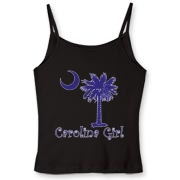 Buy a Purple Carolina Girl Women's Fitted Spaghetti Strap Tank featuring the South Carolina palmetto moon logo.