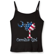 Buy a U.S. Flag Carolina Girl Women's Fitted Spaghetti Strap Tank featuring the American flag in the background of the South Carolina palmetto moon logo.