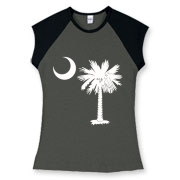 Buy a White Palmetto Moon Women's Fitted Cap Sleeve Tee. The palmetto moon is a symbol of South Carolina pride.
