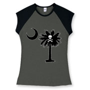 Buy a Jolly Roger Pirate Palmetto Moon Women's Fitted Cap Sleeve Tee featuring a palmetto with a Jolly Roger pirate flag background. The palmetto moon is a symbol of South Carolina pride.