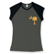 Buy a Yellow Smiley Palmetto Moon Women's Fitted Cap Sleeve Tee featuring a smaller palmetto printed on the left chest area. The palmetto moon is a symbol of South Carolina pride.