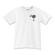 Black Polka Dot Palmetto Moon Kids T-Shirt features a small black palmetto moon with white polka dots printed in the pocket area.
