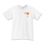 Orange and Purple South Cackalacky Palmetto Moon Kids T-Shirt features the South Carolina palmetto moon logo in orange and purple on the back and a smaller, matching palmetto moon on the front.