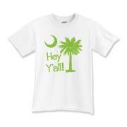 Say hello with the Lime Green Hey Y'all Palmetto Moon Kids T-Shirt. It features the South Carolina palmetto moon.