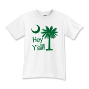 Say hello with the Green Hey Y'all Palmetto Moon Kids T-Shirt. It features the South Carolina palmetto moon.