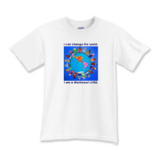 I can change the world, I am a Montessori child.  Present (as well as former) Montessori children will love this design! Our future lies in our children's hands!  Designed by South Carolina artisan and Montessori Primary Directress, Amy Kuhl Cox.