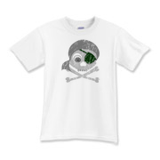 Gray skull and crossbones with dark green eyepatch and gray bandanna. Eyeball in left eye socket. Design is distressed.