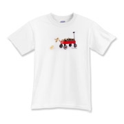 Chick jumping from wagon Kids T-Shirt