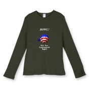 This comical ladies' stars and stripes dark bowling shirt design shows a smiling bowling ball caricature decked out in red, white and blue. The caption says: BOWL! (It's Your Constitutional Right).