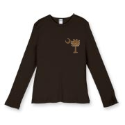 Buy a Chocolate Brown Palmetto Moon Women's Fitted Baby Rib Long Sleeve Tee featuring a smaller palmetto printed on the left chest area. The palmetto moon is a symbol of South Carolina pride.