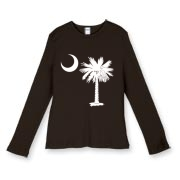 Buy a White Palmetto Moon Women's Fitted Baby Rib Long Sleeve Tee. The palmetto moon is a symbol of South Carolina pride.